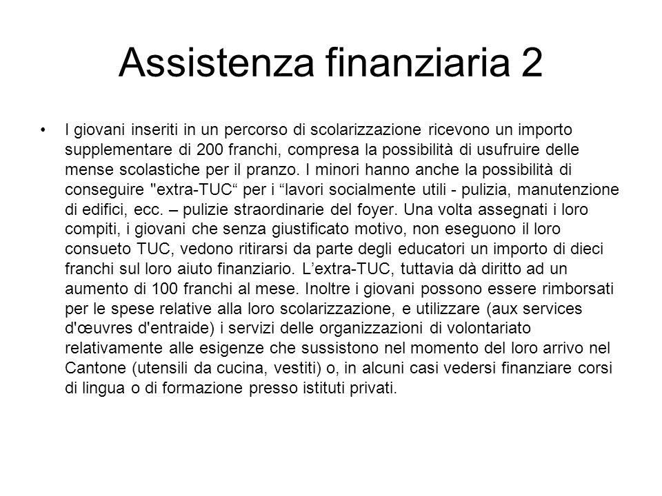 Assistenza finanziaria 2 I giovani inseriti in un percorso di scolarizzazione ricevono un importo supplementare di 200 franchi, compresa la possibilit