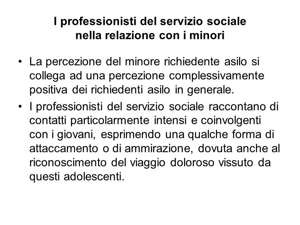 I professionisti del servizio sociale nella relazione con i minori La percezione del minore richiedente asilo si collega ad una percezione complessiva
