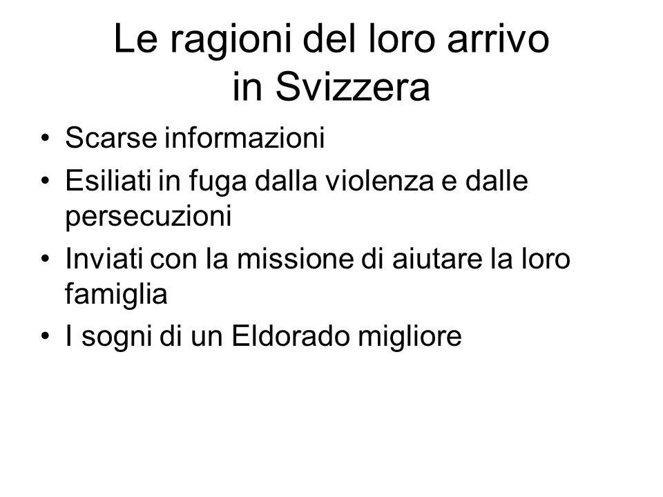 Le ragioni del loro arrivo in Svizzera Scarse informazioni Esiliati in fuga dalla violenza e dalle persecuzioni Inviati con la missione di aiutare la