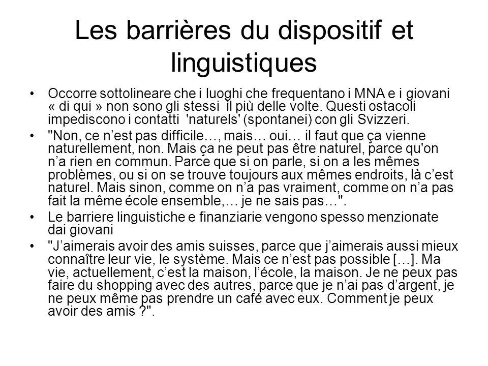 Les barrières du dispositif et linguistiques Occorre sottolineare che i luoghi che frequentano i MNA e i giovani « di qui » non sono gli stessi il più
