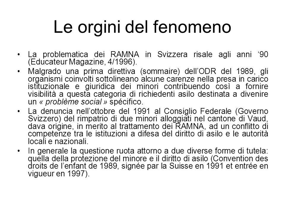Le orgini del fenomeno La problematica dei RAMNA in Svizzera risale agli anni 90 (Educateur Magazine, 4/1996).