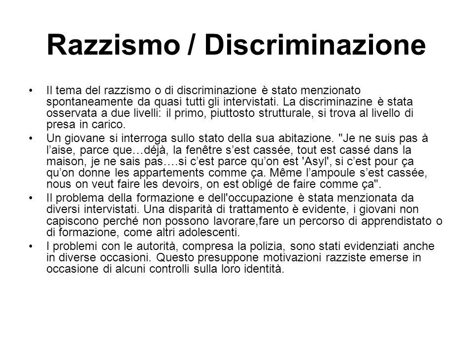 Razzismo / Discriminazione Il tema del razzismo o di discriminazione è stato menzionato spontaneamente da quasi tutti gli intervistati. La discriminaz