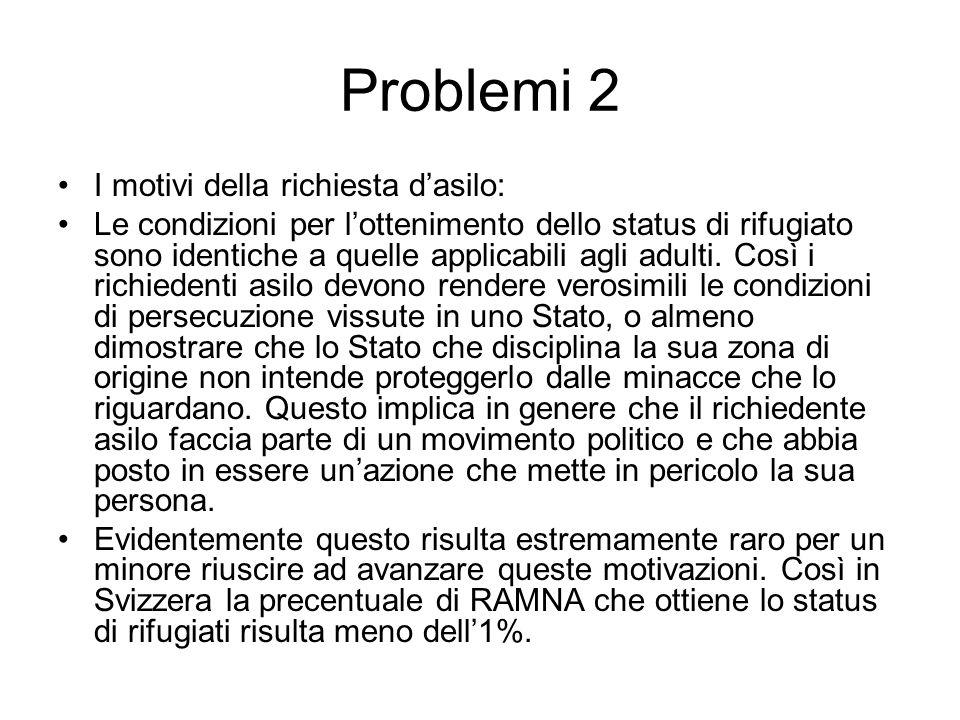 Problemi 2 I motivi della richiesta dasilo: Le condizioni per lottenimento dello status di rifugiato sono identiche a quelle applicabili agli adulti.