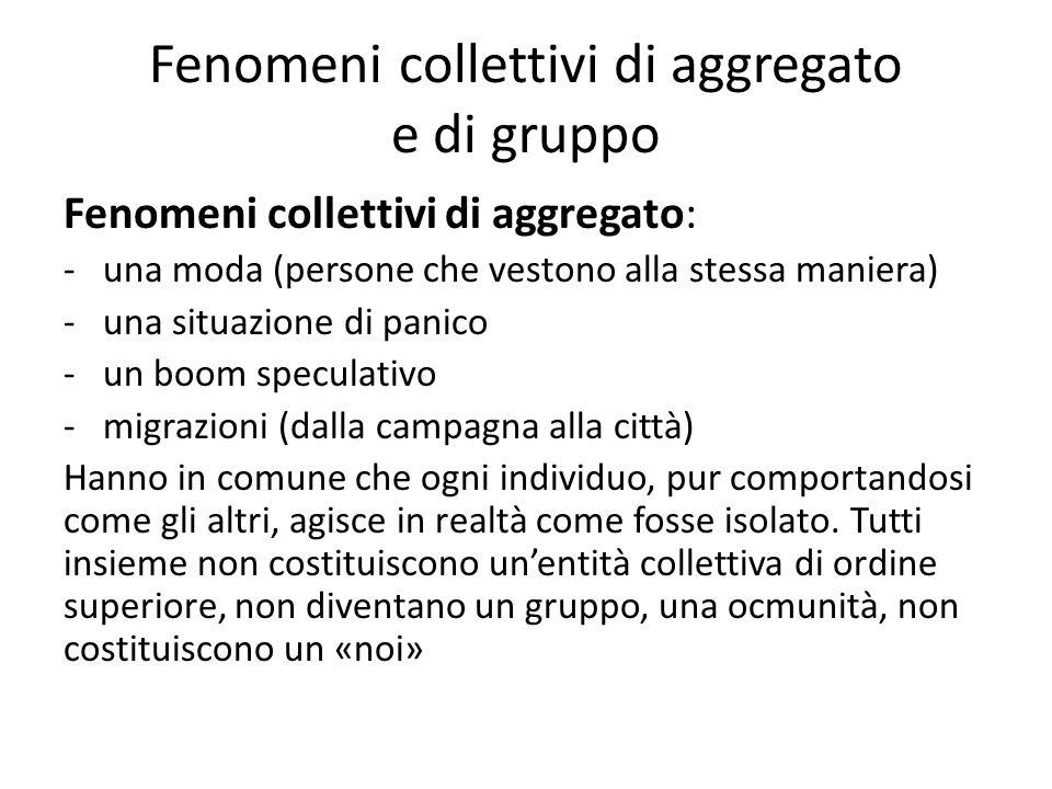 Fenomeni collettivi di aggregato e di gruppo Fenomeni collettivi di aggregato: -una moda (persone che vestono alla stessa maniera) -una situazione di