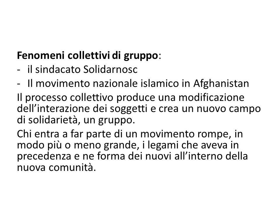 Fenomeni collettivi di gruppo: -il sindacato Solidarnosc -Il movimento nazionale islamico in Afghanistan Il processo collettivo produce una modificazione dellinterazione dei soggetti e crea un nuovo campo di solidarietà, un gruppo.