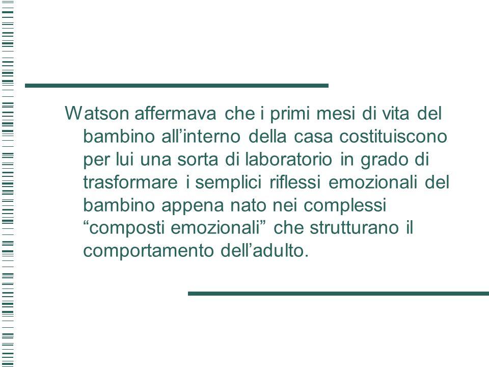 Watson affermava che i primi mesi di vita del bambino allinterno della casa costituiscono per lui una sorta di laboratorio in grado di trasformare i s