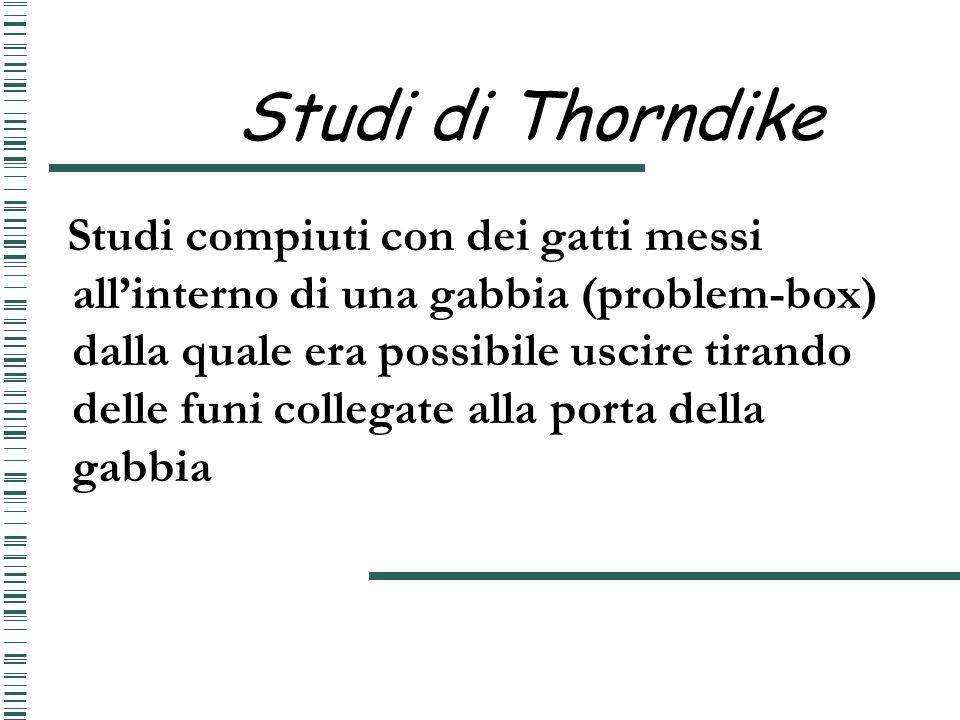 Studi di Thorndike Studi compiuti con dei gatti messi allinterno di una gabbia (problem-box) dalla quale era possibile uscire tirando delle funi colle