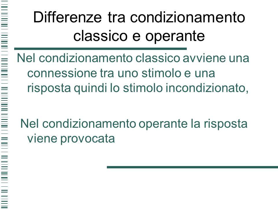 Differenze tra condizionamento classico e operante Nel condizionamento classico avviene una connessione tra uno stimolo e una risposta quindi lo stimo