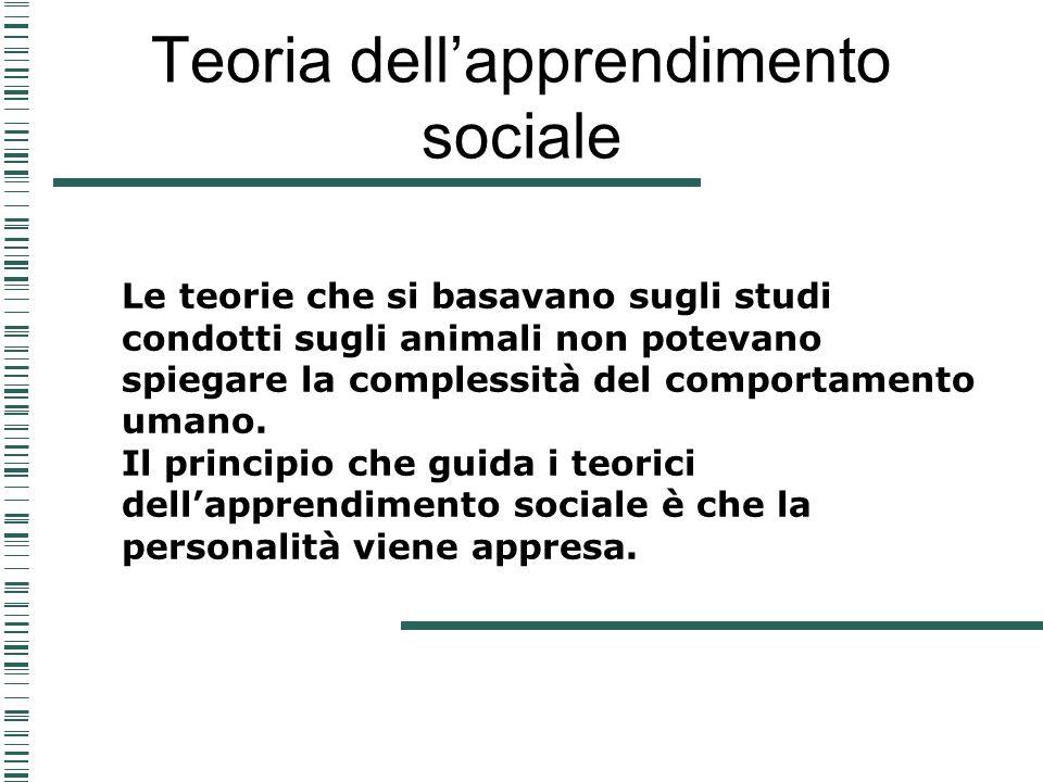 Teoria dellapprendimento sociale Le teorie che si basavano sugli studi condotti sugli animali non potevano spiegare la complessità del comportamento u