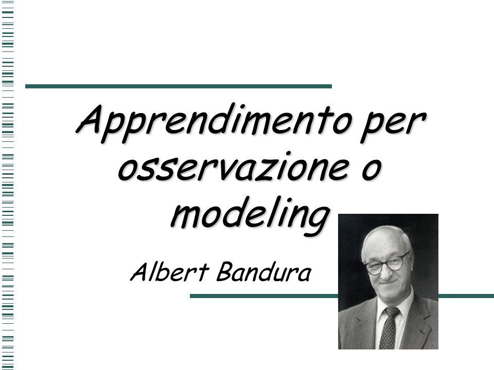 Apprendimento per osservazione o modeling Albert Bandura