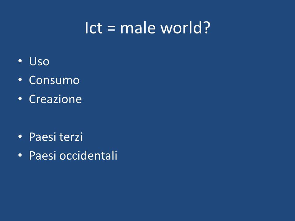 Ict = male world Uso Consumo Creazione Paesi terzi Paesi occidentali
