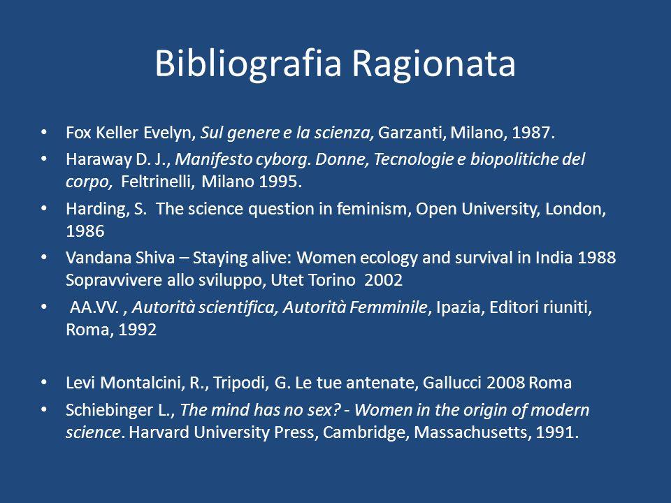 Bibliografia Ragionata Fox Keller Evelyn, Sul genere e la scienza, Garzanti, Milano, 1987.