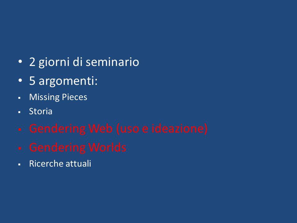 2 giorni di seminario 5 argomenti: Missing Pieces Storia Gendering Web (uso e ideazione) Gendering Worlds Ricerche attuali