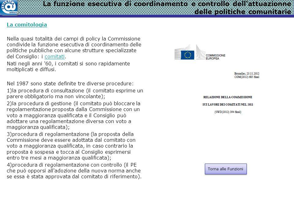 La comitologia Nella quasi totalità dei campi di policy la Commissione condivide la funzione esecutiva di coordinamento delle politiche pubbliche con alcune strutture specializzate del Consiglio: i comitati.comitati Nati negli anni 60, i comitati si sono rapidamente moltiplicati e diffusi.
