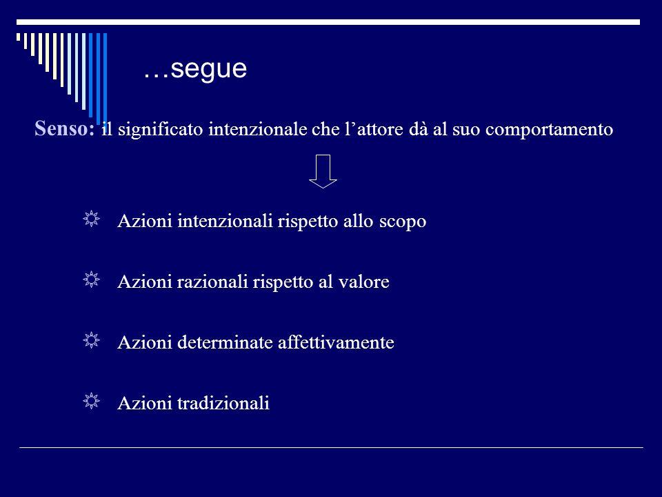 …segue Senso: il significato intenzionale che lattore dà al suo comportamento Azioni intenzionali rispetto allo scopo Azioni razionali rispetto al val