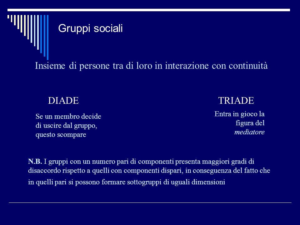 Gruppi sociali Insieme di persone tra di loro in interazione con continuità DIADETRIADE Se un membro decide di uscire dal gruppo, questo scompare Entr