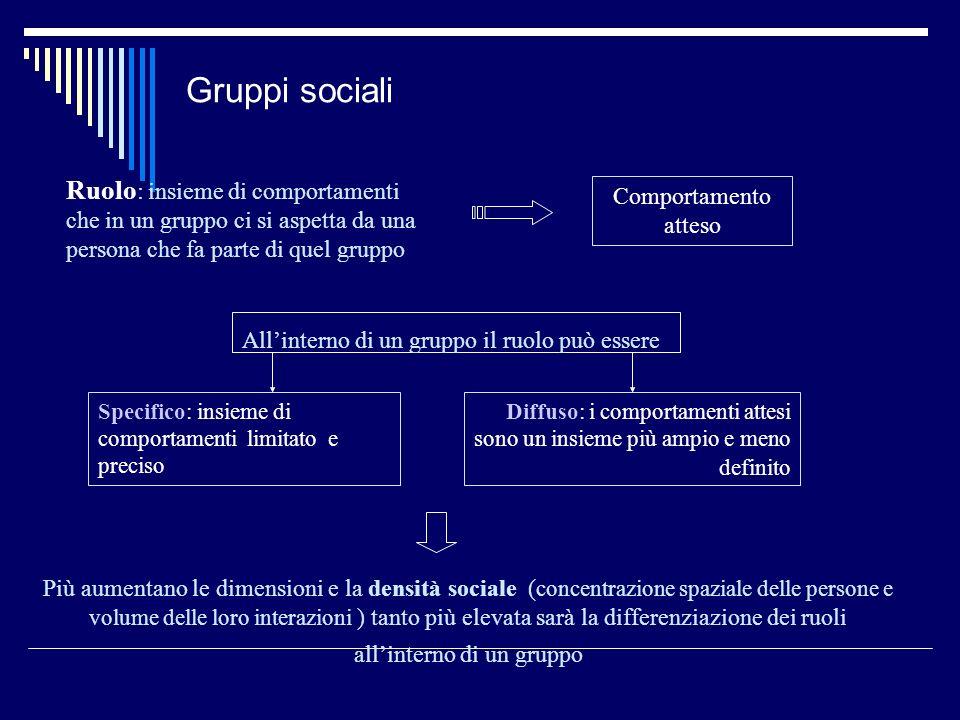Gruppi sociali Ruolo : insieme di comportamenti che in un gruppo ci si aspetta da una persona che fa parte di quel gruppo Comportamento atteso Allinte