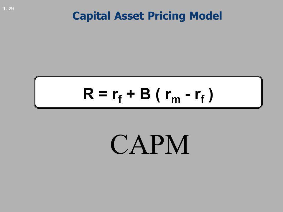 1- 29 Capital Asset Pricing Model R = r f + B ( r m - r f ) CAPM