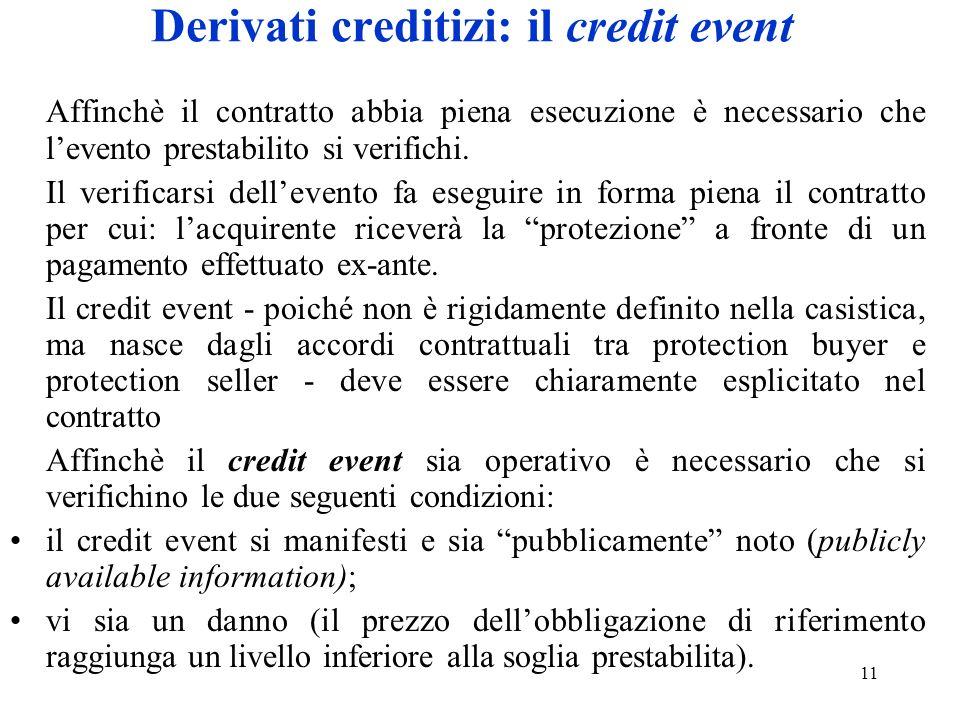 11 Derivati creditizi: il credit event Affinchè il contratto abbia piena esecuzione è necessario che levento prestabilito si verifichi. Il verificarsi