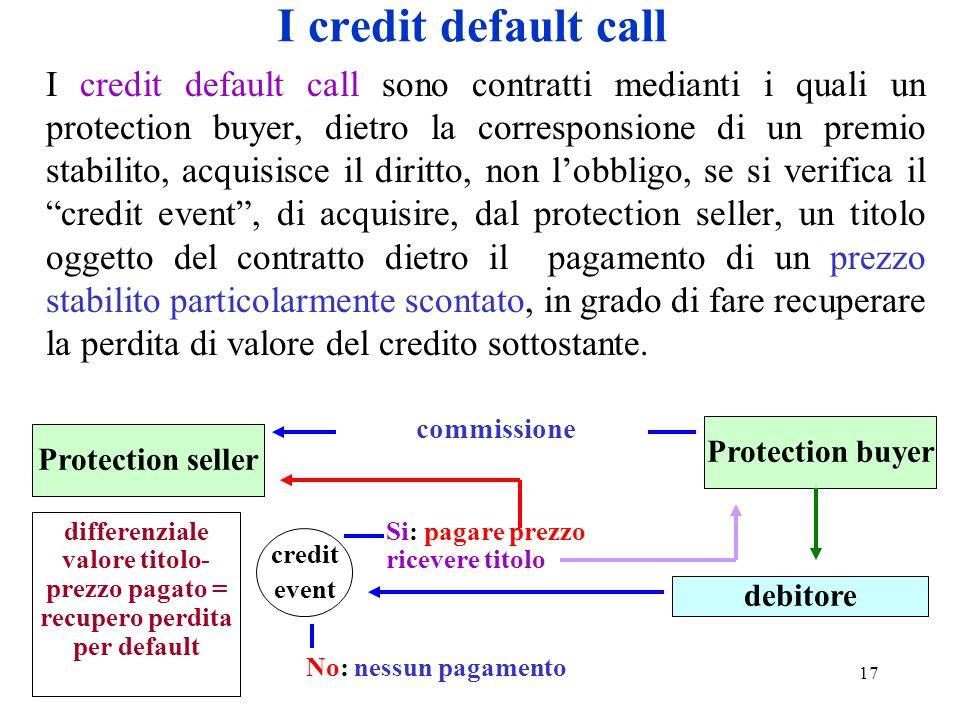 17 I credit default call I credit default call sono contratti medianti i quali un protection buyer, dietro la corresponsione di un premio stabilito, a