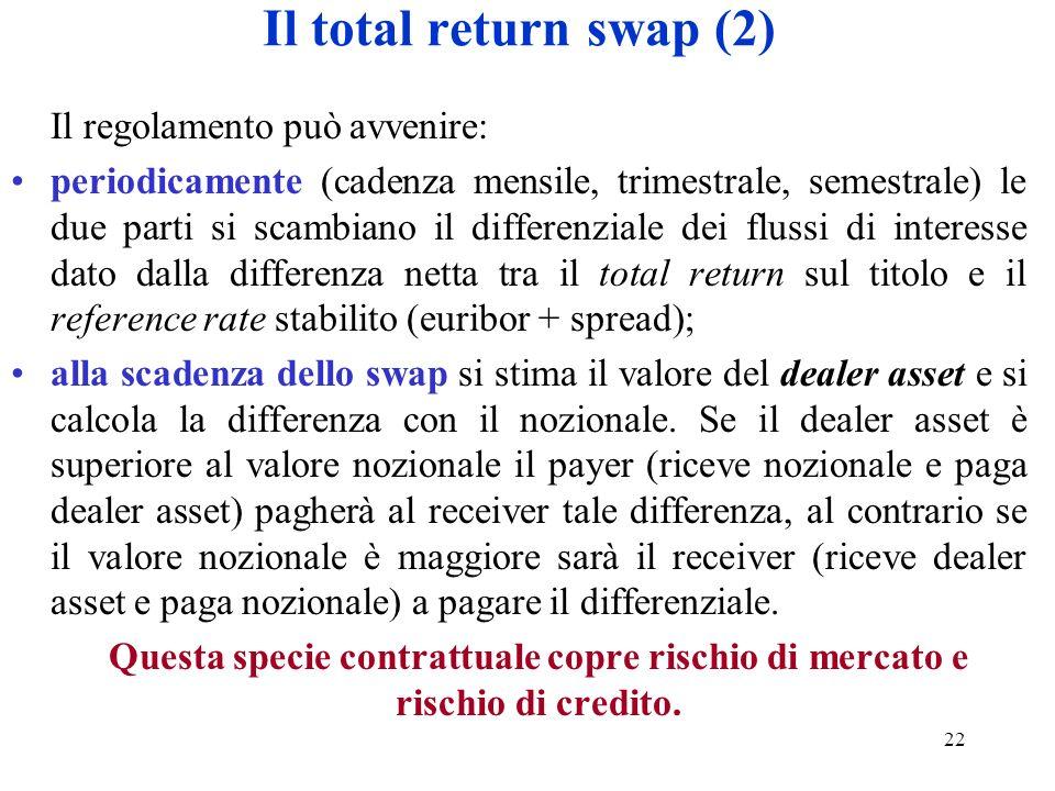 22 Il total return swap (2) Il regolamento può avvenire: periodicamente (cadenza mensile, trimestrale, semestrale) le due parti si scambiano il differ