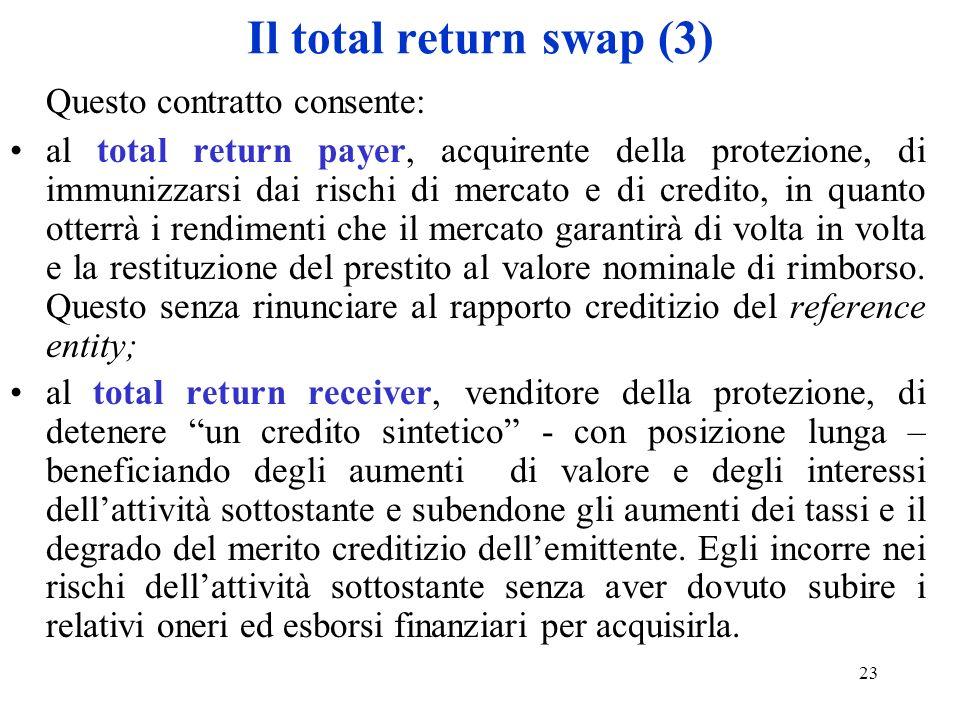 23 Il total return swap (3) Questo contratto consente: al total return payer, acquirente della protezione, di immunizzarsi dai rischi di mercato e di