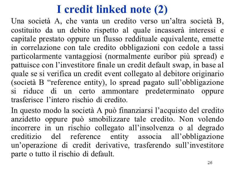 26 I credit linked note (2) Una società A, che vanta un credito verso unaltra società B, costituito da un debito rispetto al quale incasserà interessi