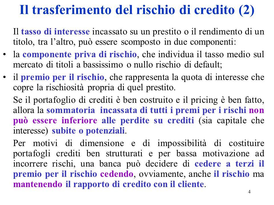 4 Il trasferimento del rischio di credito (2) Il tasso di interesse incassato su un prestito o il rendimento di un titolo, tra laltro, può essere scom