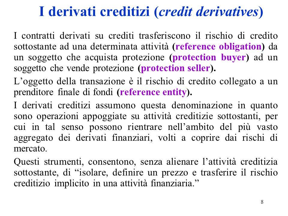 8 I derivati creditizi (credit derivatives) I contratti derivati su crediti trasferiscono il rischio di credito sottostante ad una determinata attivit