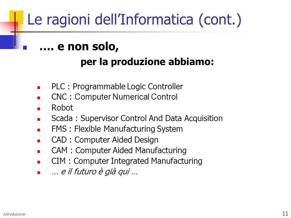 Introduzione 11 Le ragioni dellInformatica (cont.) …. e non solo, per la produzione abbiamo: PLC : Programmable Logic Controller CNC : Computer Numeri