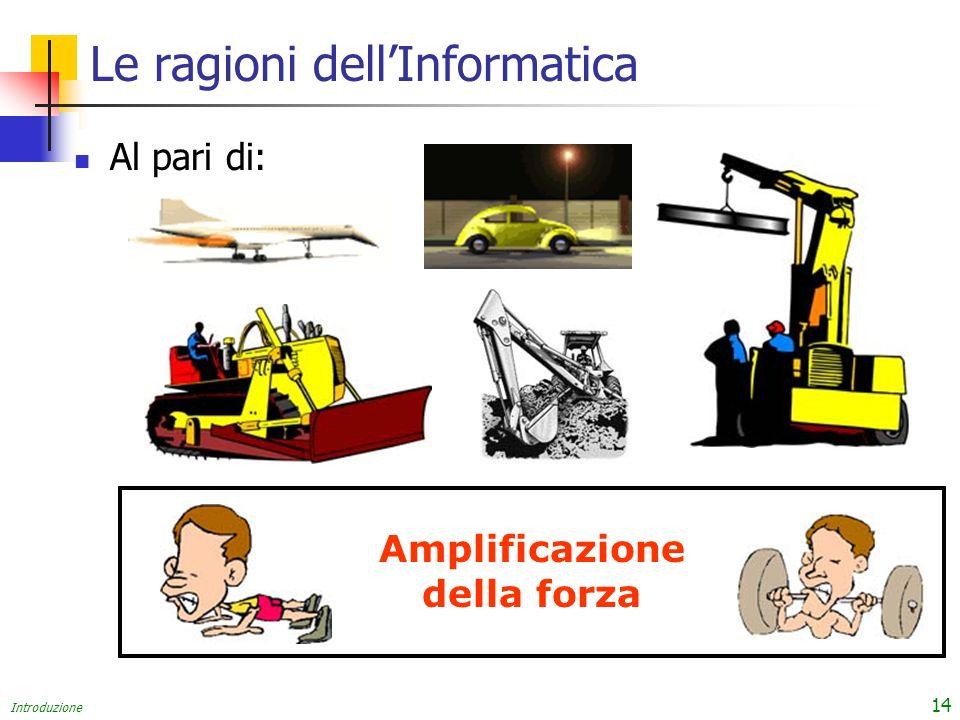 Introduzione 14 Le ragioni dellInformatica Al pari di: Amplificazione della forza