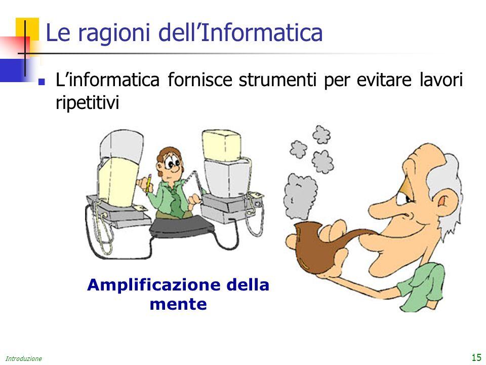 Introduzione 15 Le ragioni dellInformatica Linformatica fornisce strumenti per evitare lavori ripetitivi Amplificazione della mente