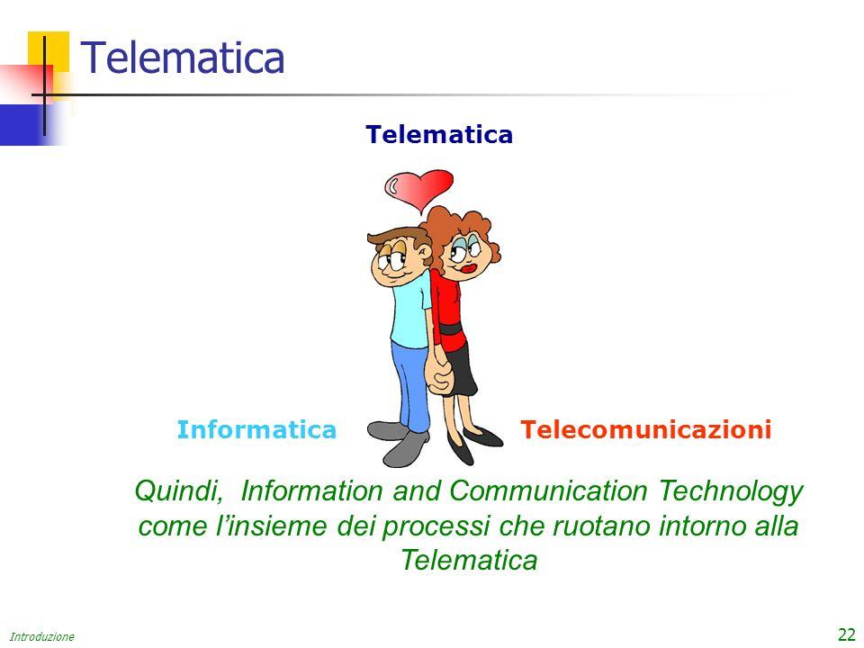 Introduzione 22 Telematica Quindi, Information and Communication Technology come linsieme dei processi che ruotano intorno alla Telematica InformaticaTelecomunicazioni Telematica