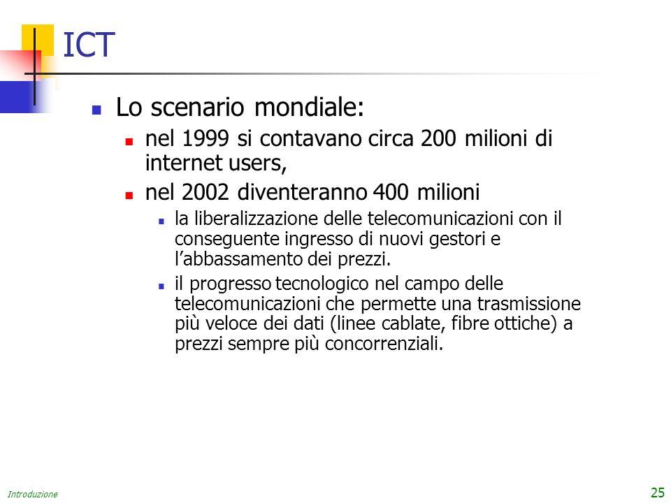 Introduzione 25 ICT Lo scenario mondiale: nel 1999 si contavano circa 200 milioni di internet users, nel 2002 diventeranno 400 milioni la liberalizzazione delle telecomunicazioni con il conseguente ingresso di nuovi gestori e labbassamento dei prezzi.