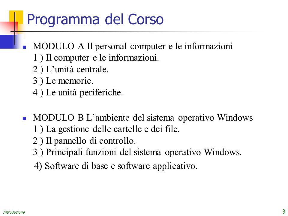 Introduzione 3 Programma del Corso MODULO A Il personal computer e le informazioni 1 ) Il computer e le informazioni. 2 ) Lunità centrale. 3 ) Le memo