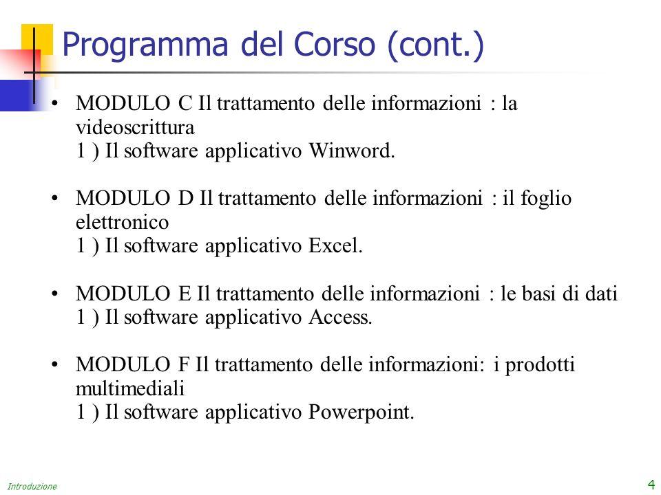 Introduzione 4 Programma del Corso (cont.) MODULO C Il trattamento delle informazioni : la videoscrittura 1 ) Il software applicativo Winword.