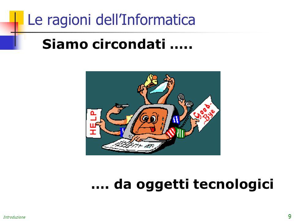 Introduzione 9 Siamo circondati ….. …. da oggetti tecnologici Le ragioni dellInformatica