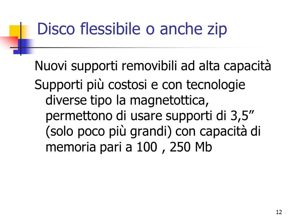 12 Disco flessibile o anche zip Nuovi supporti removibili ad alta capacità Supporti più costosi e con tecnologie diverse tipo la magnetottica, permett