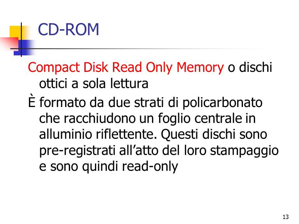 13 CD-ROM Compact Disk Read Only Memory o dischi ottici a sola lettura È formato da due strati di policarbonato che racchiudono un foglio centrale in
