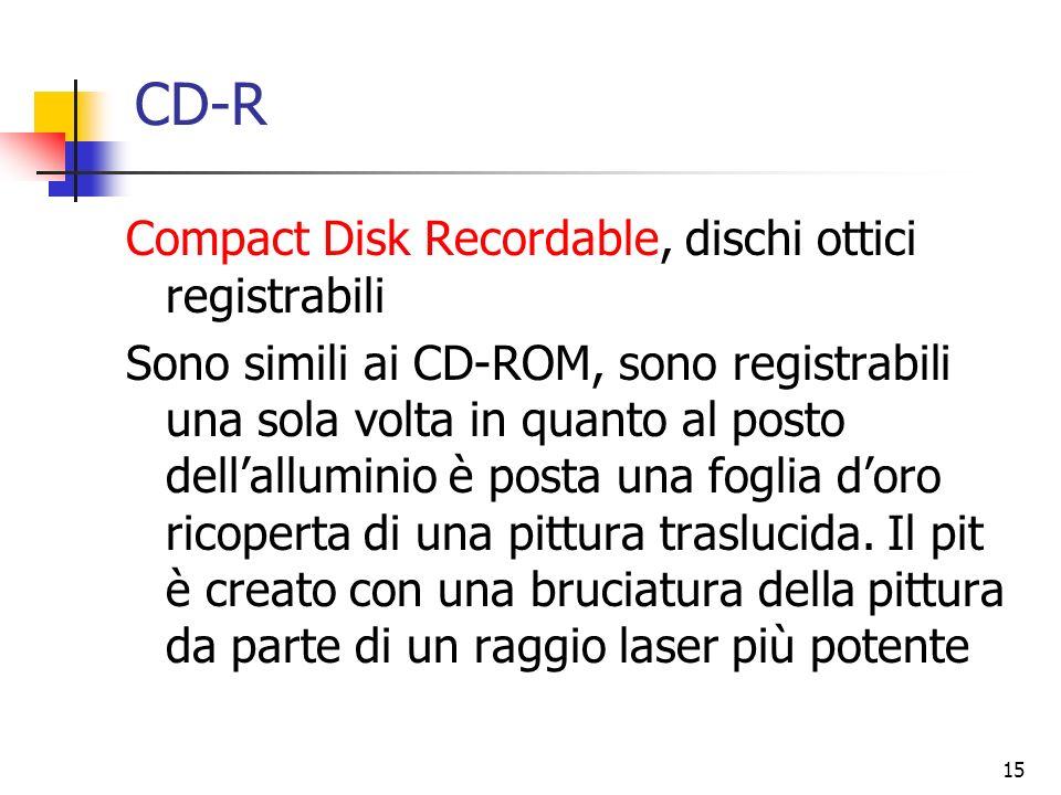 15 CD-R Compact Disk Recordable, dischi ottici registrabili Sono simili ai CD-ROM, sono registrabili una sola volta in quanto al posto dellalluminio è