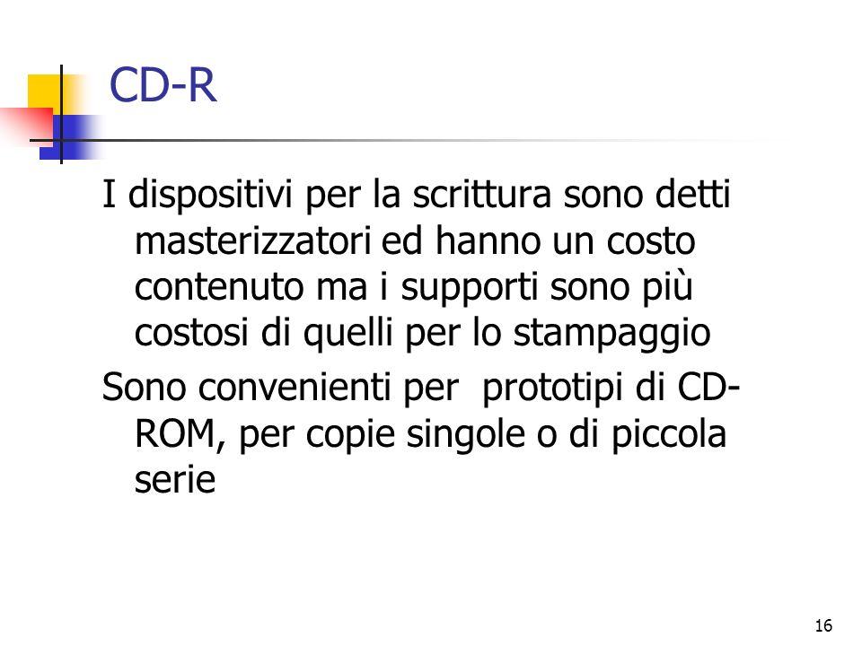 16 CD-R I dispositivi per la scrittura sono detti masterizzatori ed hanno un costo contenuto ma i supporti sono più costosi di quelli per lo stampaggi
