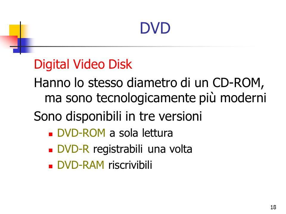 18 DVD Digital Video Disk Hanno lo stesso diametro di un CD-ROM, ma sono tecnologicamente più moderni Sono disponibili in tre versioni DVD-ROM a sola