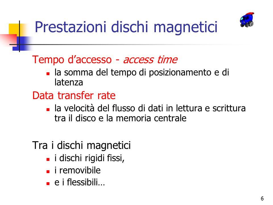 6 Prestazioni dischi magnetici Tempo daccesso - access time la somma del tempo di posizionamento e di latenza Data transfer rate la velocità del fluss