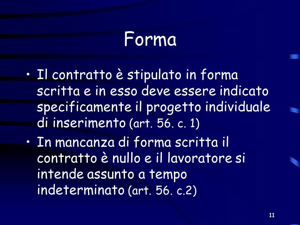 11 Forma Il contratto è stipulato in forma scritta e in esso deve essere indicato specificamente il progetto individuale di inserimento (art. 56. c. 1