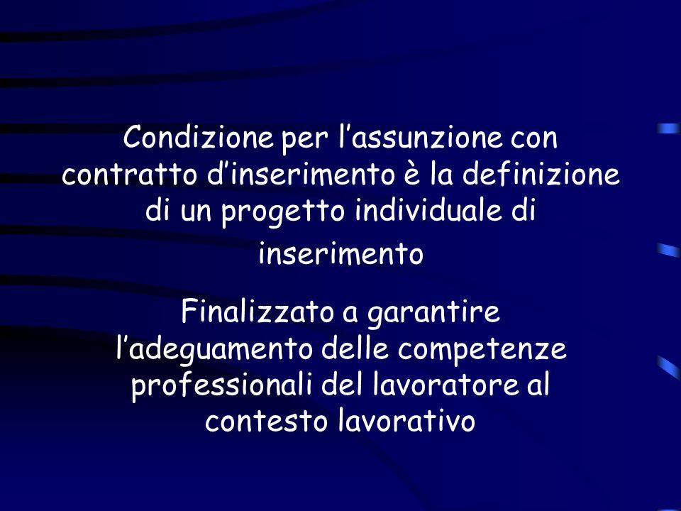 Condizione per lassunzione con contratto dinserimento è la definizione di un progetto individuale di inserimento Finalizzato a garantire ladeguamento