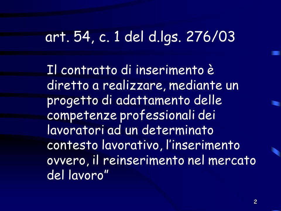 2 art. 54, c. 1 del d.lgs. 276/03 Il contratto di inserimento è diretto a realizzare, mediante un progetto di adattamento delle competenze professiona