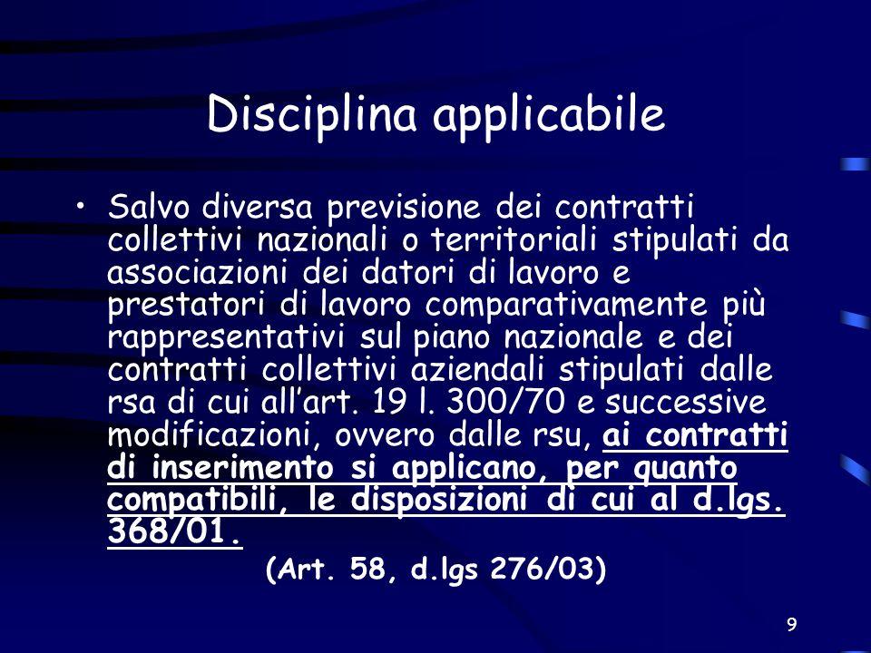 9 Disciplina applicabile Salvo diversa previsione dei contratti collettivi nazionali o territoriali stipulati da associazioni dei datori di lavoro e p