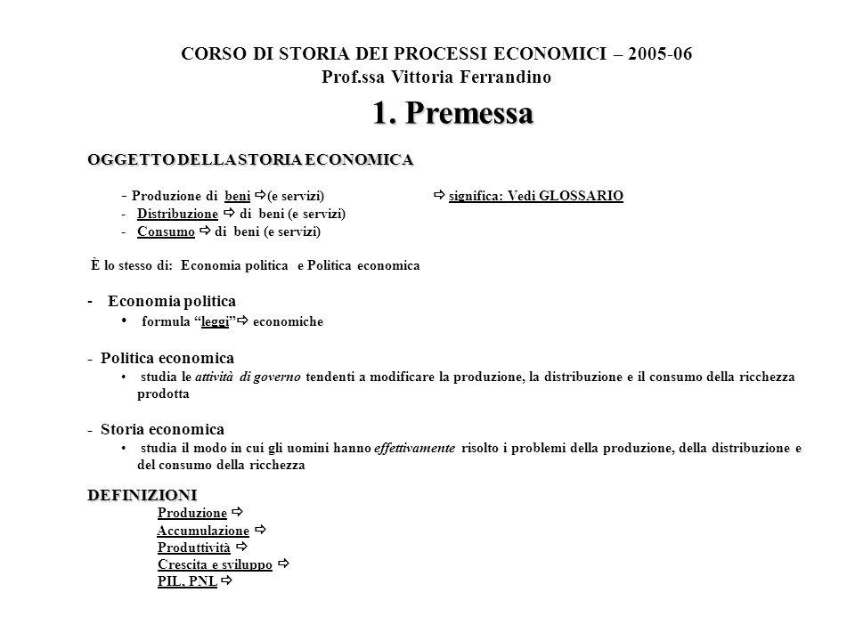 1. Premessa OGGETTO DELLA STORIA ECONOMICA - Produzione di beni (e servizi) significa: Vedi GLOSSARIO -Distribuzione di beni (e servizi) -Consumo di b