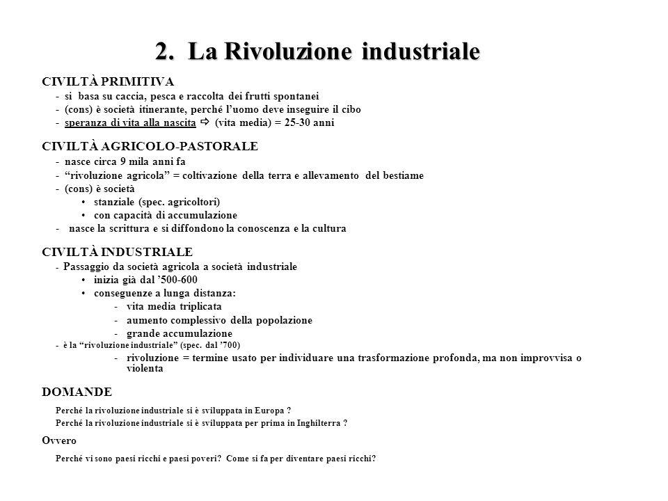 2. La Rivoluzione industriale CIVILTÀ PRIMITIVA - si basa su caccia, pesca e raccolta dei frutti spontanei - (cons) è società itinerante, perché luomo
