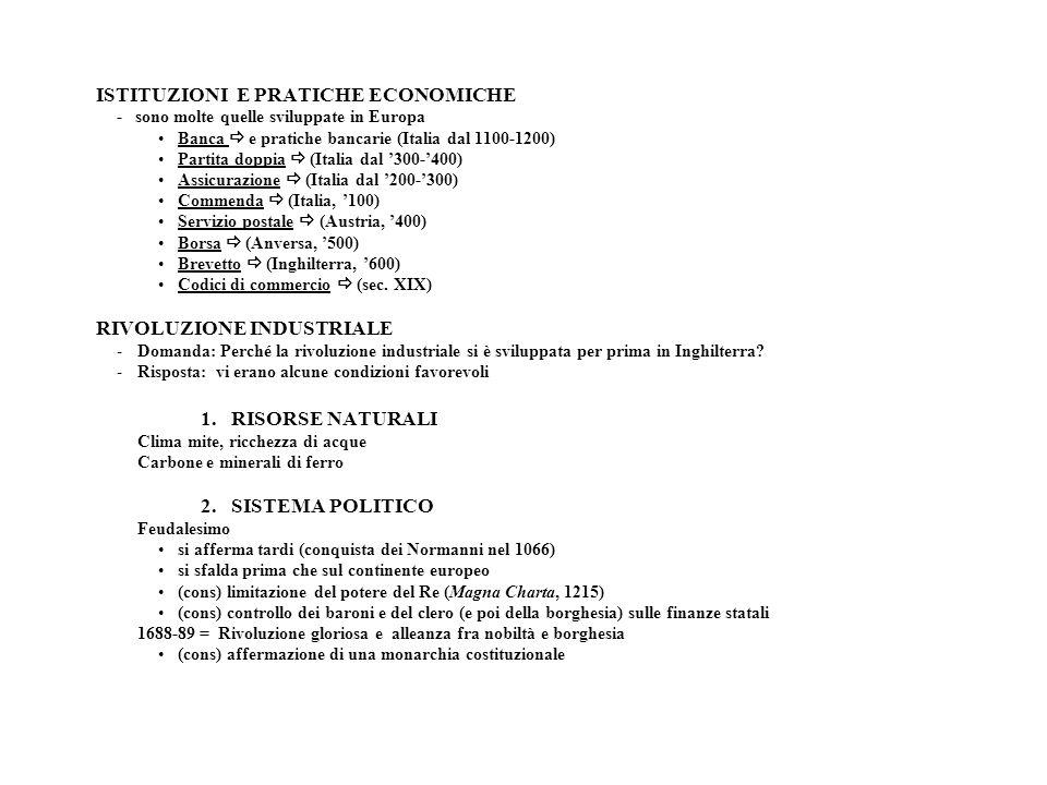 ISTITUZIONI E PRATICHE ECONOMICHE - sono molte quelle sviluppate in Europa Banca e pratiche bancarie (Italia dal 1100-1200) Partita doppia (Italia dal